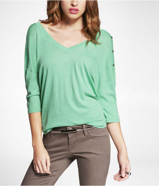 Express Double V-Neck Button Shoulder Tee