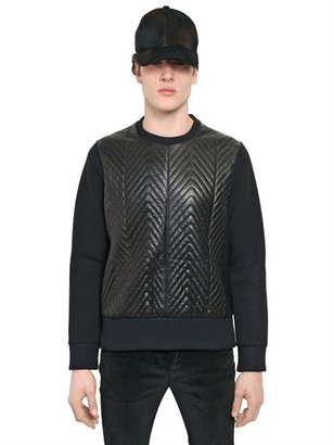 Neil Barrett Woven Leather & Neoprene Sweatshirt