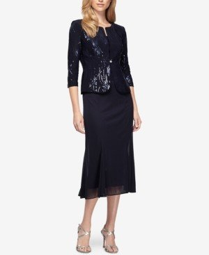 Alex Evenings Sequined A-Line Midi Dress and Jacket, Regular & Petite Sizes