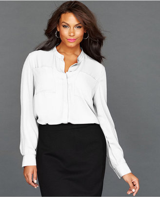 INC International Concepts Plus Size Long-Sleeve High-Low Shirt