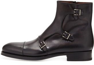Bergdorf Goodman Hand-Antiqued 3-Buckle Chelsea Boot, Gray