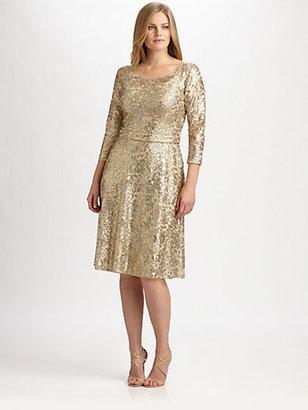 David Meister David Meister, Sizes 14-24 Metallic Lace/Sequin Dress