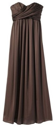 Household Essentials Women's Satin Strapless Maxi Bridesmaid Dress Neutral Colors - TEVOLIO