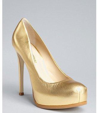 Pour La Victoire gold metallic leather concealed platform pumps