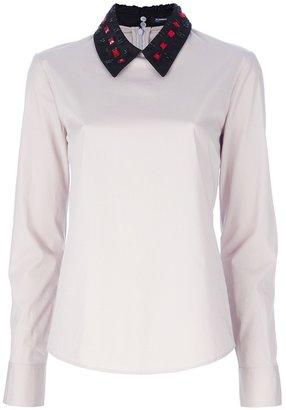 Jil Sander Navy Embellished collar blouse