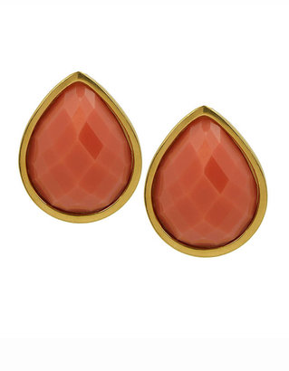 T Tahari 14 Kt. Gold-Plated Faux Coral Clip-On Earrings