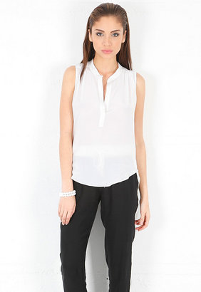 Rory Beca Cliff Multi Pleated Sleeveless Blouse in Salt