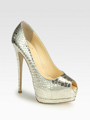 Giuseppe Zanotti Sharon Snake-Print Metallic Leather Pumps