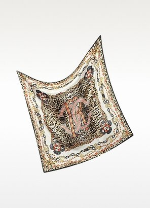 Roberto Cavalli Animal and Jewel Print Silk Square Scarf