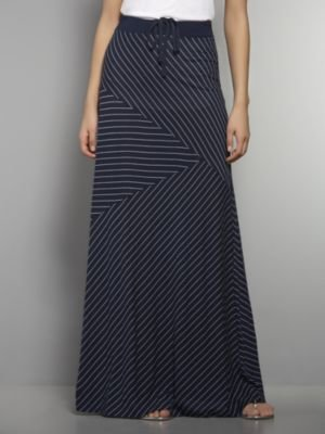 New York & Co. Love NY&C Collection - Striped Drawstring Maxi Skirt