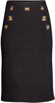 H&M Beaded Pencil Skirt - Black - Ladies