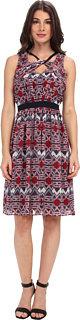 Adrianna Papell Sleeveless Dress w/ Tribal Geo Motif & Twist Detail