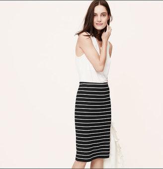 LOFT Petite Striped Long Pencil Skirt