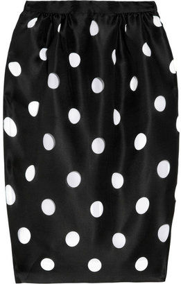 Prabal Gurung Cutout polka-dot silk-gazar pencil skirt