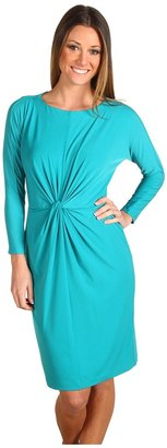Donna Morgan 3/4 Dolman Sleeve Front Knot Jersey Dress (Jade) - Apparel