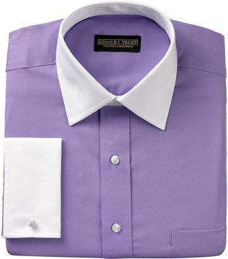 Donald Trump Dress Shirt, Solid White Collar French Cuff Long Sleeve Shirt