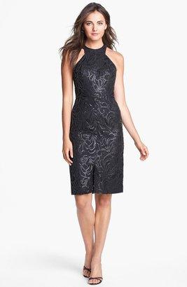 Jill Stuart Jill Faux Leather Sequin Embellished Sheath Dress