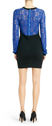 Diane von Furstenberg Isla Lace Sweater Dress In Black/vivid Blue