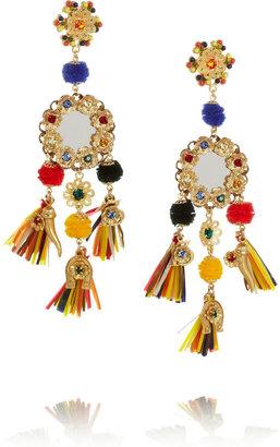Dolce & Gabbana Tasseled crystal clip earrings
