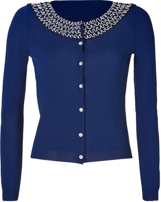 Moschino Cheap & Chic Royal Blue Embroidered Rayon-Blend Cardigan