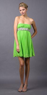 Basix II Green Strapless Short Pleated Dresses