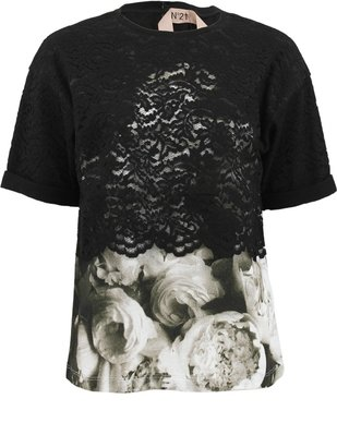 N0.21 Short Sleeve Lace Pullover