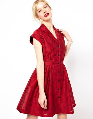 Jaeger Boutique by Jaquard Polka Dot Shirtwaist Dress
