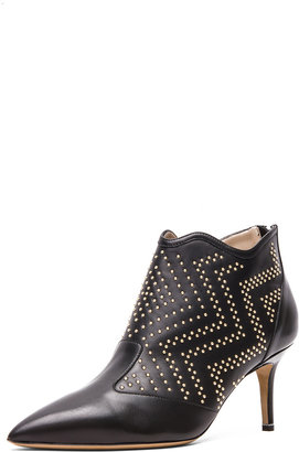Nicholas Kirkwood Leather Studded Ankle Boots in Black & Gold