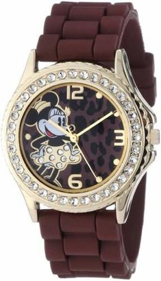 Disney Women's MN1054 Rhinestone Accent Minnie Mouse Rubber Strap Watch