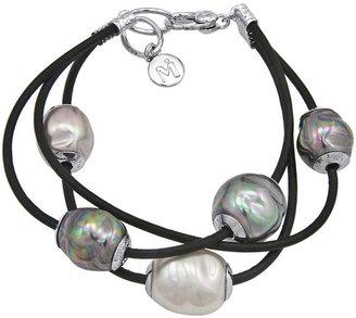Majorica Pearl Bracelet, Baroque Organic Man-Made Pearl and Leather Three Row