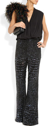 Roberto Cavalli Sequined silk wide-leg flared pants