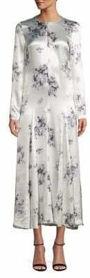 Ganni Floral-Print Long-Sleeve Shift Dress