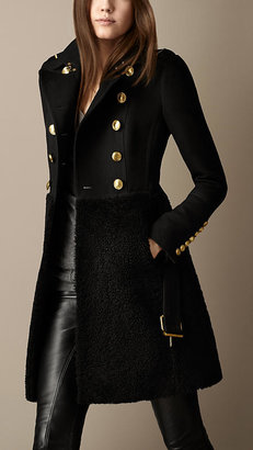 Burberry Shearling Skirt Fitted Coat
