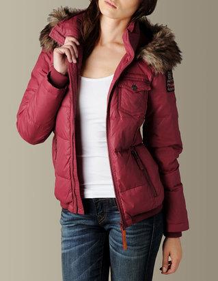 True Religion Womens Puffer Jacket W/Faux Fur Hood