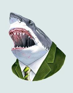 Berkley Illustration Great White Shark Portrait Print