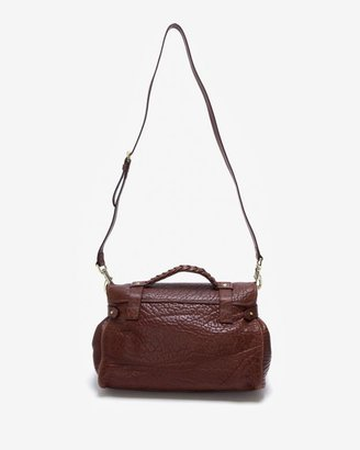 Mulberry Medium Alexa Shrunken Calf Satchel: Oxblood