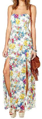 Romwe Split Sides Floral Bandeau Maxi Dress