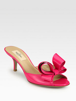 Valentino Couture Patent Leather Bow Slides