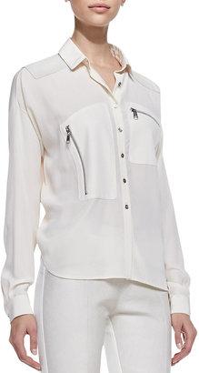 Richard Chai Andrew Marc x Silk Long Sleeve Button-down Blouse, Canvas