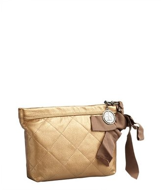 Lanvin gold quilted leather cosmetic case