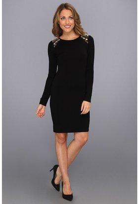 Vince Camuto Embellished Shoulder L/S Dress (Rich Black) - Apparel