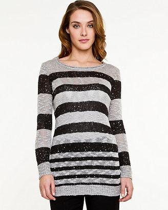 Le Château Sequin Stripe Scoop Neck Sweater