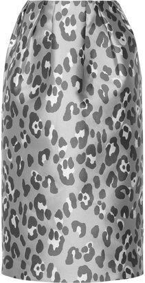 ADAM by Adam Lippes Leopard-jacquard midi skirt