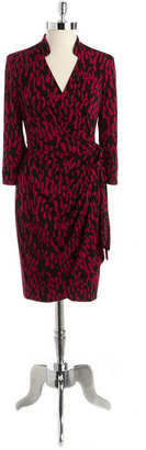 Maggy London Printed Jersey Wrap Dress