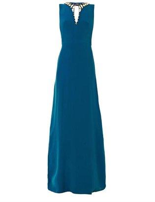Issa Embroidered neckline silk gown