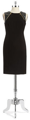 Calvin Klein Faux Leather Accented Sheath Dress