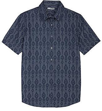 Murano Short-Sleeve Slim Indigo Tribal Shirt