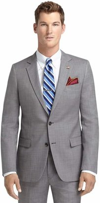 Brooks Brothers Fitzgerald Fit Saxxon Wool Grey Nailhead 1818 Suit