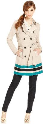 Kensie Coat, Striped-Hem Trench Coat