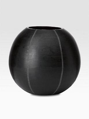 Donna Karan Etched Round Vase/Black
